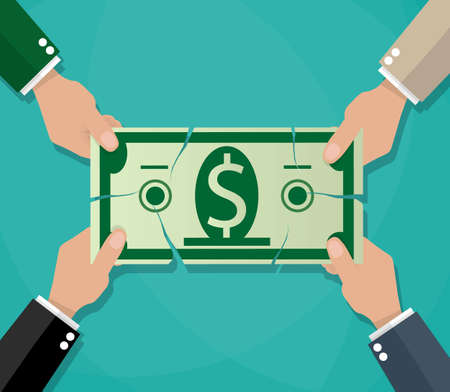 Businessman hands tearing dollar banknote, tug of war, business competition concept. vector illustration in flat style on green background