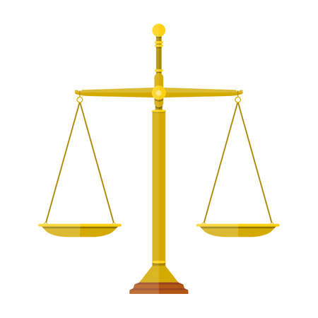 empty metallic scales isolated on white background. scales of justice. vector illustration in flat design Illustration