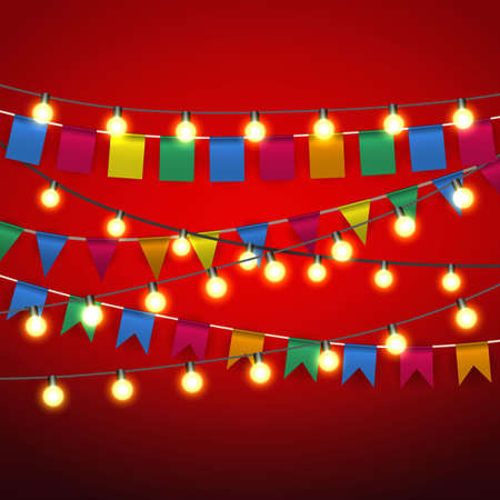 pennant bunting: Color pennant bunting and Warm yellow Lights bulb at black strings on red background. celebration event. vector illustration Illustration