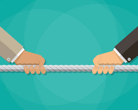 Businessman hands pulling rope, tug of war, business competition concept. vector illustration in flat style on green background