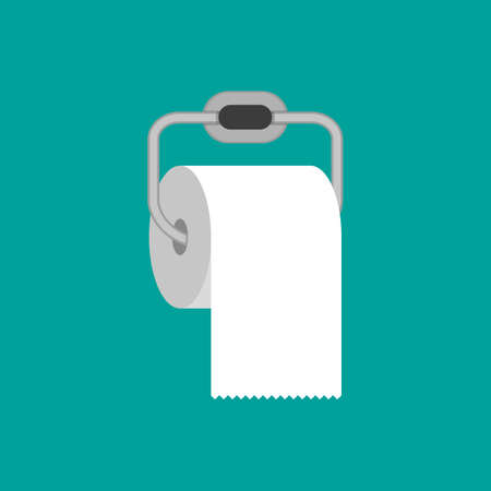 Toilet paper roll with metal holder. vector illustration in flat style on green background Ilustração
