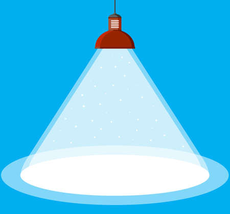 illuminated ceiling lamp in flat style. vector illustration on blue background Illustration