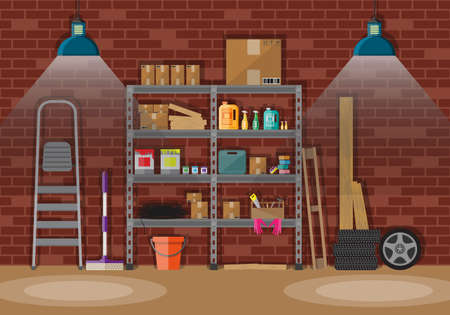 Interior of storeroom with metal shelves, storage, boxes, stair, wheels, cleaning accessories. light lamp. red brick wall. vector illustration in flat style