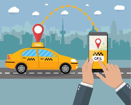 Taxi service. Gele taxi. Handen met smartphone en taxi toepassing, stadssilhouet met wolkenkrabbers en toren, hemel met wolken. Vector illustratie in vlakke stijl
