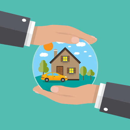 hands of agent, protect house and car. concept of insurance and protection, security. Vector illustration.