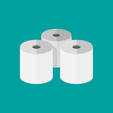 paper rolls: Three toilet paper rolls. vector illustration in flat style on green background