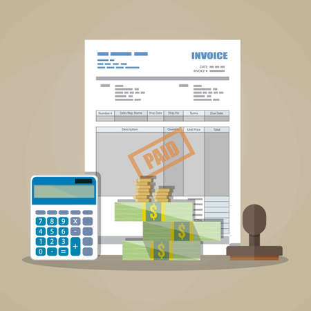 paid stamp: paper invoice form, paid stamp, cash money and coins, calculator. tax. receipt. bill. vector illustration in flat style on brown background