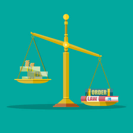 law and order: Gold Justice scales with dollar cash, coins and law, order books. making decision beetwin money and law. vector illustration in flat style on green background