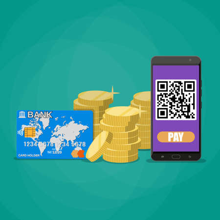 Phone wit qr code application, gold coins stacks and bank card. payments through bar qr code concept. vector illustration in flat style on green background Illustration