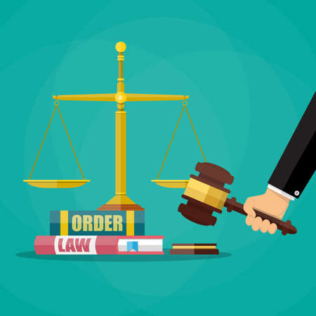 violation: Hand with judge wooden gavel, law and oreder book and golden scales. Justice concept. Vector illustration in flat style on green background Illustration
