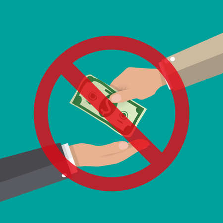 corruption: hand giving money to other hand. anti Corruption concept. vector illustration in flat style Illustration