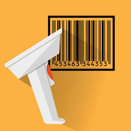 hand held: hand held barcode scanner with long shadow and black bar code. vector illustration in flat design on orange background