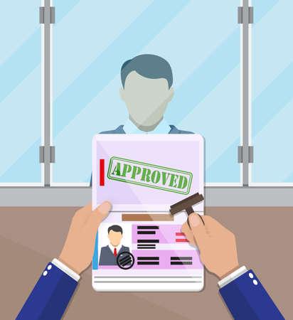agent au point de contrôle des passeports mettre un cachet dans le passeport avec une marque approuvée. document de Voyage. illustration vectorielle en design plat Vecteurs
