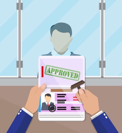 officer at passport control point putting a stamp in the passport with a mark approved. travel document. vector illustration in flat design
