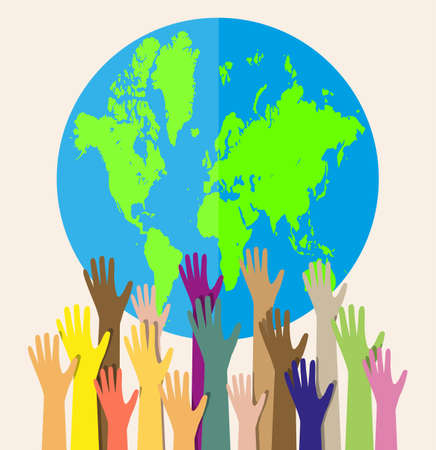 cultural diversity: Group of hands of different colors and globe. people of the world. cultural and ethnic diversity. vector illustration in flat style on white background