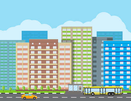 residental: Modern City View. Cityscape with office and residental buildings, trees, road with bus and car, blue background with clouds. vector illustration in flat style
