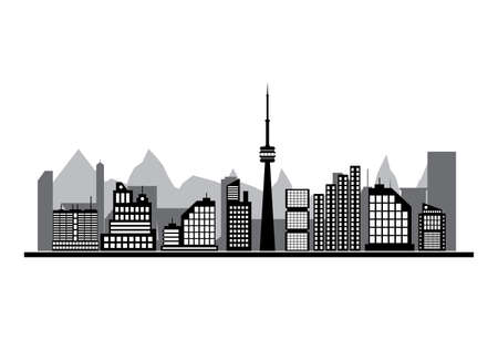 residental: Morning city skyline. Buildings silhouette cityscape with mountains. Cityscape with office and residental buildings, television tower. white background. Vector illustration