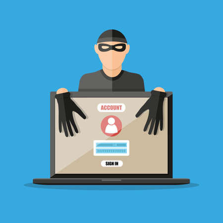 passwords: Thief hacker in mask stealing passwords from laptop. anti phishing and internet viruses concept. vector illustration in flat style on blue background