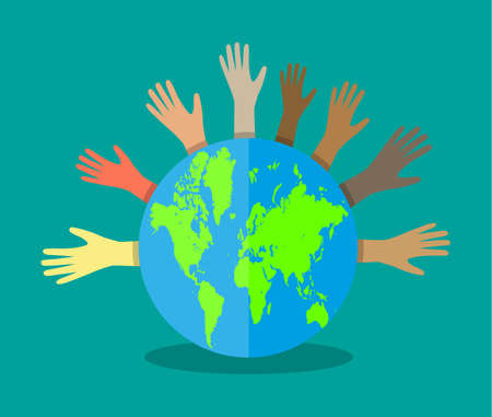 Group of hands of different colors and globe. people of the world. cultural and ethnic diversity. vector illustration in flat style on white background