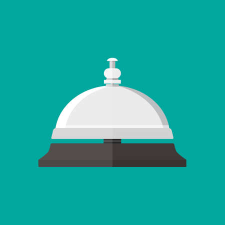 service bell: Reception service bell in flat style. vector illustration on green background Illustration
