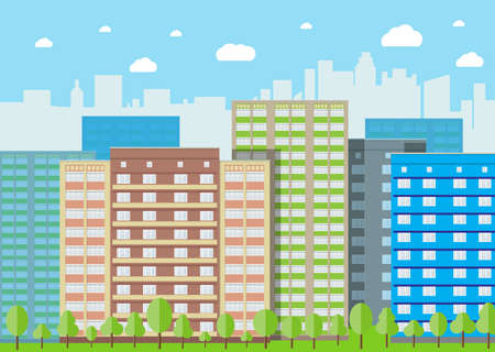 residental: Modern City View. Cityscape with office and residental buildings, trees, blue background with clouds. vector illustration in flat style Stock Photo