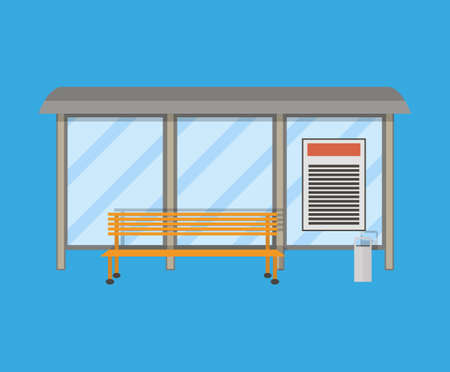 receptacle: Empty Bus Stop with bench and trash receptacle. vector illustration in flat style on blue background