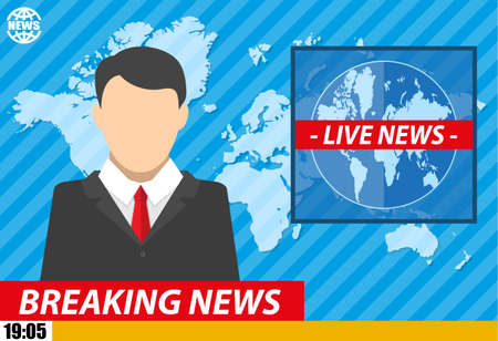 anchorman: Silhouette of a man in television studio with world map. News announcer in the studio. breaking news. Vector illustration. vector illustration in flat style Illustration