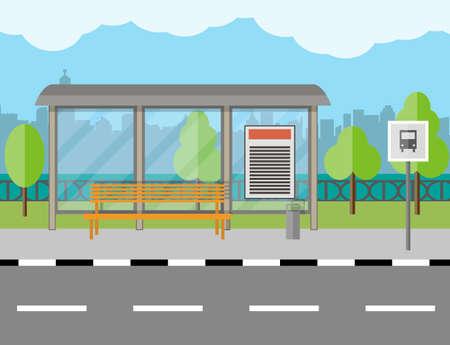 Lege Bus Stop met bank en afvalreservoir, stad achtergrond, boom, blauwe lucht met wolken