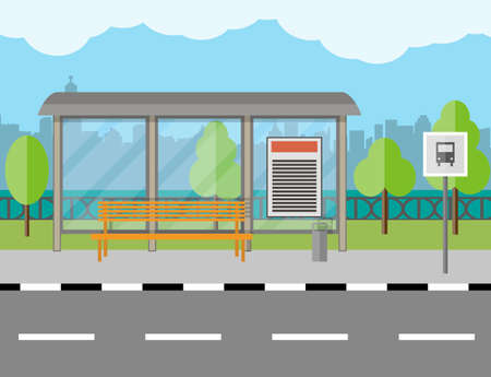 Empty Bus Stop with bench and trash receptacle, city background, tree, blue sky with clouds Illustration