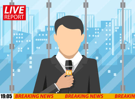 newsreader: News reporter men with microphone in office building. cityscape background. breaking news. television. press. vector illustration in flat style Illustration