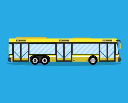 Gele stadsbus. openbaar vervoer. vectorillustratie in vlakke stijl op blauwe achtergrond