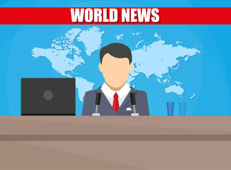 newscaster: Silhouette of a man with microphone, laptop, glass and world map. News announcer in the studio. breaking news. Vector illustration. vector illustration in flat style Illustration