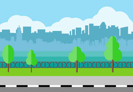 residental: Modern City View. City promenade, Cityscape with office and residental buildings, trees, river, blue background with clouds. vector illustration in flat style Illustration