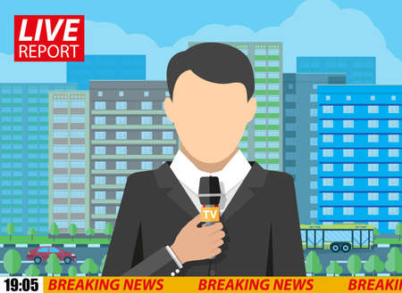 newsreader: News reporter men with microphone on street with roads, buildings, car and trees. breaking news. television. press. vector illustration in flat style Illustration