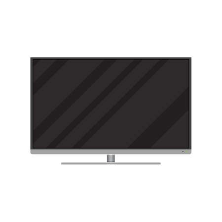 frontal view: Frontal view of modern widescreen led or lcd tv. vector illustration in flat style Illustration