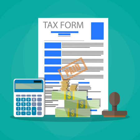 tax form: Time for pay taxes concept. Wooden stamp, tax form document, calculator, cash money and coins. Vector illustration in flat design on green background