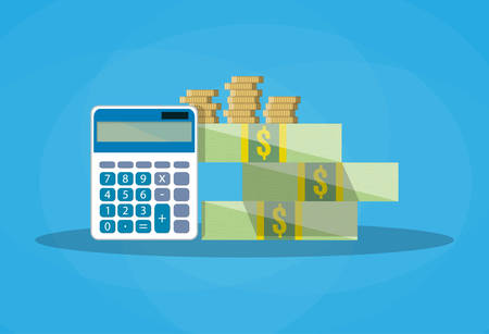 couting finances. calculator and row of gold yellow coins and dollar stacks. vector illustration in flat style on blue background Illustration