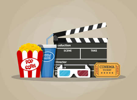 movie set: Retro movie set. Black clapperboard, box with popcorn, soda water glass, 3d glasses. ticket. vector illustration in flat style on brown background