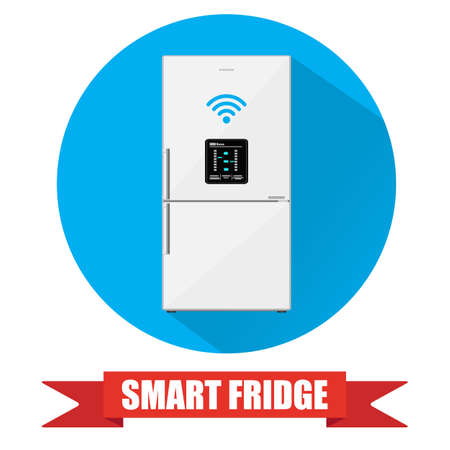lcd display: Smart refrigerator or fridge with lcd display connected to internet by wireless. fridge icon with long shadow. vector illustration in flat style