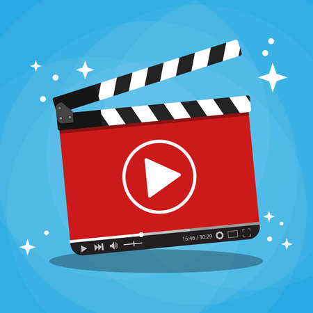 clapperboard with video web streaming player. vector illustration in flat style on blue background