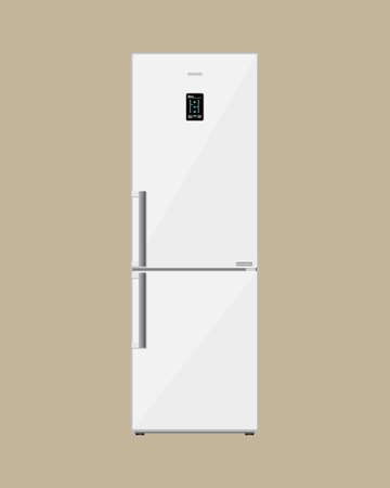 freezer: Household appliances freezer. Modern electronic device refrigerator with lcd display. fridge with closed magnet door. vector illustration in flat style