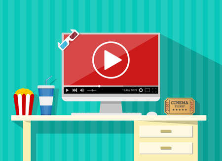 home cinema: Online home cinema concept. desktop, computer display with running online video player, soda water in glass, popcorn and 3d stereo glasses, retro cinema ticket. vector illustration in flat style.