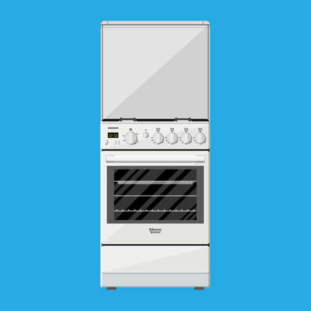 gas cooker: Gas or Electric Cooker in flat style on blue background. vector illustration