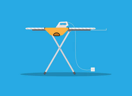flat iron: White modern iron and orange tshirt on ironing board, vector illustration in flat design on blue background