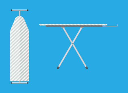 ironing: folded and unfolded ironing board Icon, Ironing board with stripe pattern. vector illustration in flat style on blue background
