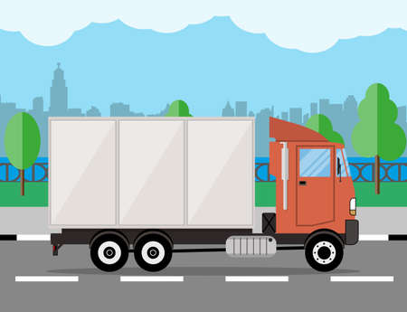 commercial tree service: small modern cargo truck for transportation. cityscape, river, clouds. vector illustration in flat style