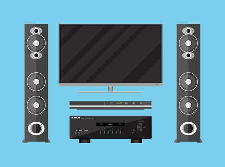 Vector set di dettagliate elettronica home theater. TV, amplificatori, altoparlanti e lettore multimediale. illustrazione vettoriale in stile piatto su sfondo blu