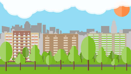 Modern City View. Cityscape with office and residental buildings, trees, road, blue background with clouds and sun. vector illustration in flat style Illustration
