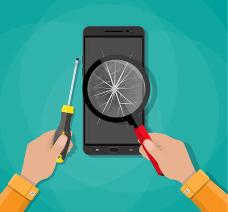 Hands with mobile phone with broken screen and screwdriver. fix phone service. vector illustration in flat style on green background