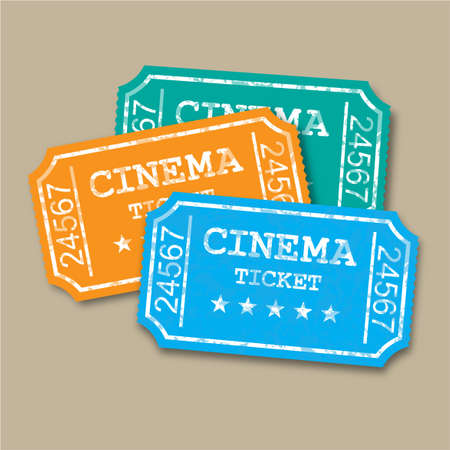 Realistic retro paper cinema tickets. vector Illustration on brown background. Stock Photo